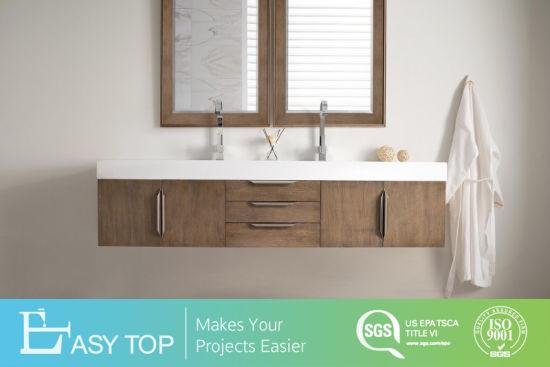 American Flat Pack Shakerwall Mounted Washbasin Ready Made Oak Double Vanity