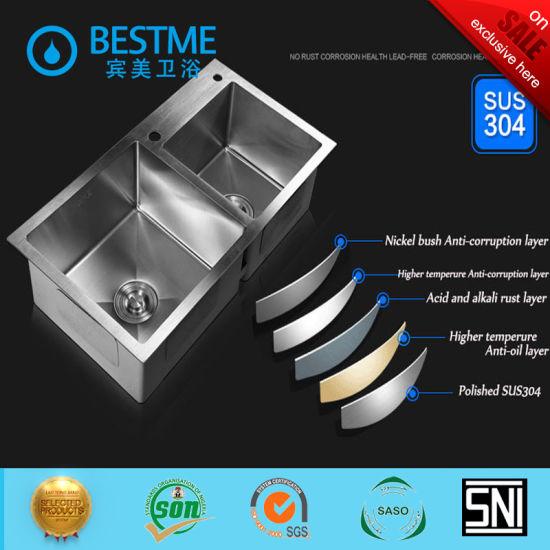 Foshan Hand-Made Techonology 304 Stainless Steel Kitchen Sink for Kitchen Furniture BS-7345