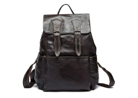 Fashion Mens Black Leather Book Bag