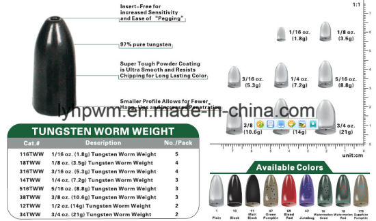 Worm weights in 1//8 3//16 and 1//4 ounce sizes