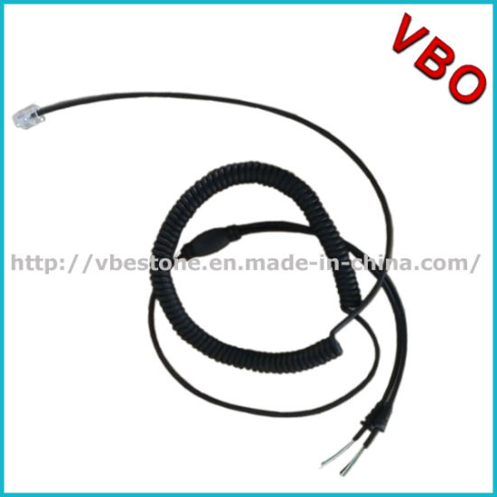 China Call Center Headset Rj Coiled Cord Wire for Headset Repairing ...