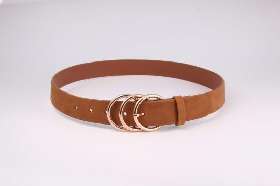 Fashion Ladies Triple Rings PU Belt