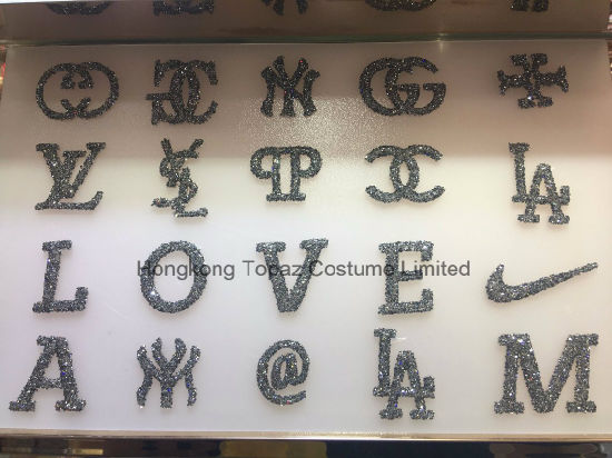 Hongkong topaz top quality custom stickers hotfix pointback rhinestone stickers iron on letter patches hf chanel