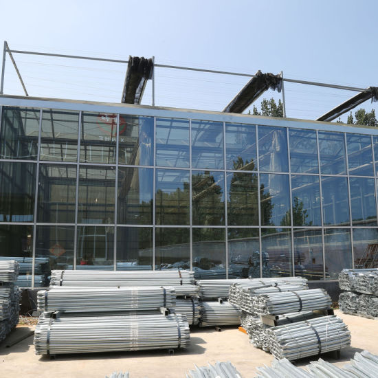 Modern Style Glass Greenhouse Covered with PC Sheet Hot DIP Galvanized Steel Pipe