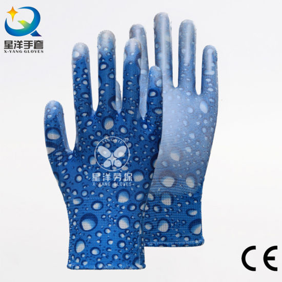 13G Printed Polyester Shell with PU Coated Garden Safety Protective Work Gloves