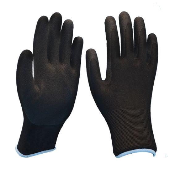 Nylon Sandy Finished Nitrile Coated Protective Work Gloves
