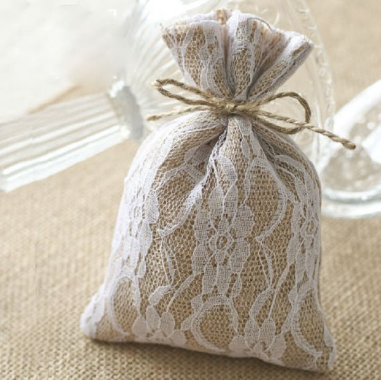 Rustic Wedding Favor Burlap And Lace Gift Bag
