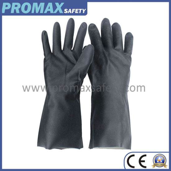 Latex Two-tone Heavy Duty Gloves Chemical Resistant Rubber Acid Oil Black Gloves
