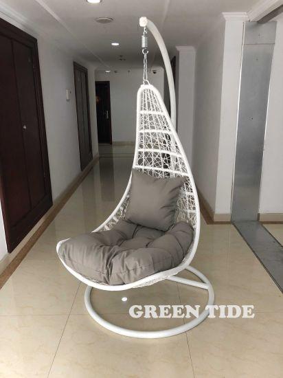 Awesome Outdoor Leisure Home White Wicker Rattan Hanging Swing Egg Creativecarmelina Interior Chair Design Creativecarmelinacom