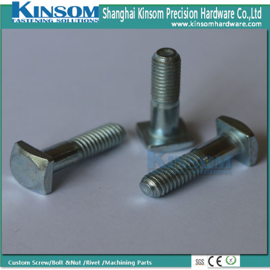 Square Knurling Head machine Bolt with Class 10.9 Zinc Plated Knurlding Neck Custom Fasteners pictures & photos