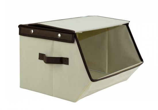 Household Collapsible Storage Bin Fabric Storage Boxes With Dual Handles  And Lid