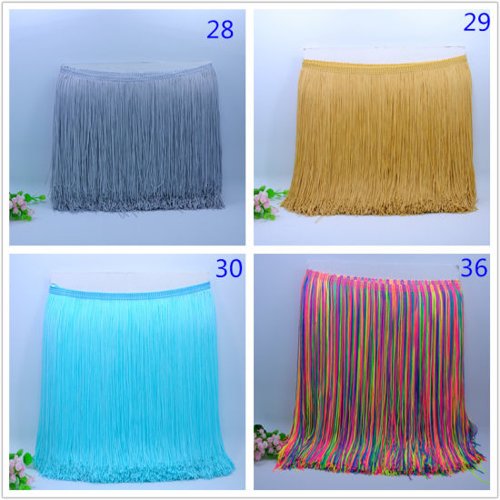 30cm Hot Sell More Colors Nylon Double Thread Stylish Chainette Fringe Tassel for Dancing Dress