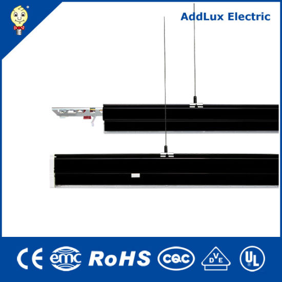 Saso Ce UL Best Distributor Aluminium up & Down Black LED Suspension Linear Lights Made in China for Office, Store, Supermarket, Workshop or Warehouse Lighting