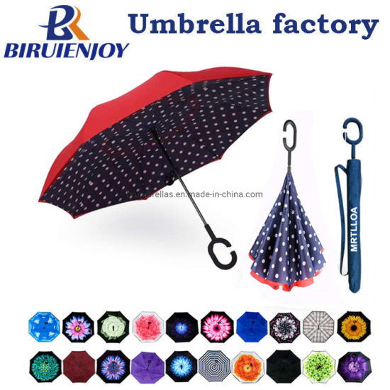 Double Layer Inverted Umbrella with C-Shaped Handle, Anti-UV Waterproof Windproof Straight Umbrella for Car Rain Outdoor