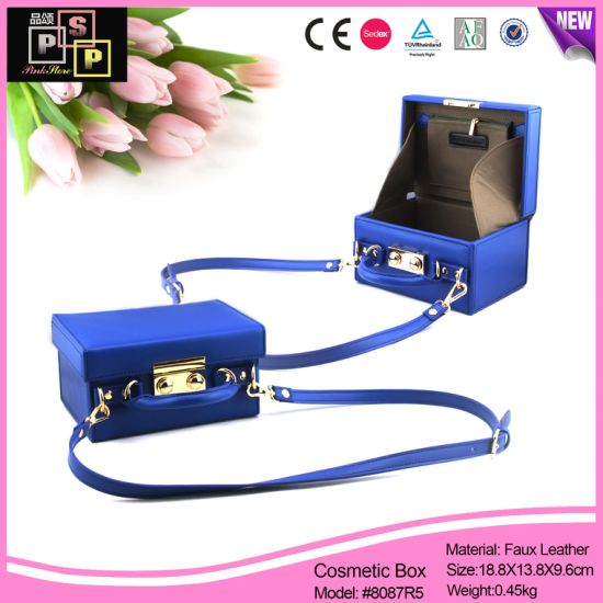 fashion Shoulder Luxury Small Blue Leather Cosmetic Bags (8087R5) pictures & photos