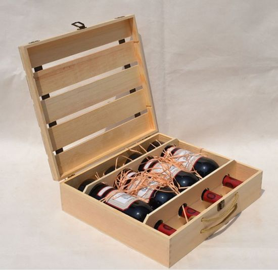 Four Bottles Wooden Box for Wine with Custom Logo Design pictures & photos