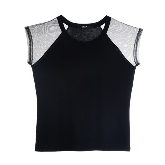 Fashion Mesh Clothing Summer Round-Neck Black Knitted T-Shirt for Women pictures & photos