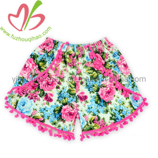 Flower Printing Square Party Beach Pants for Girls with Pompom pictures & photos