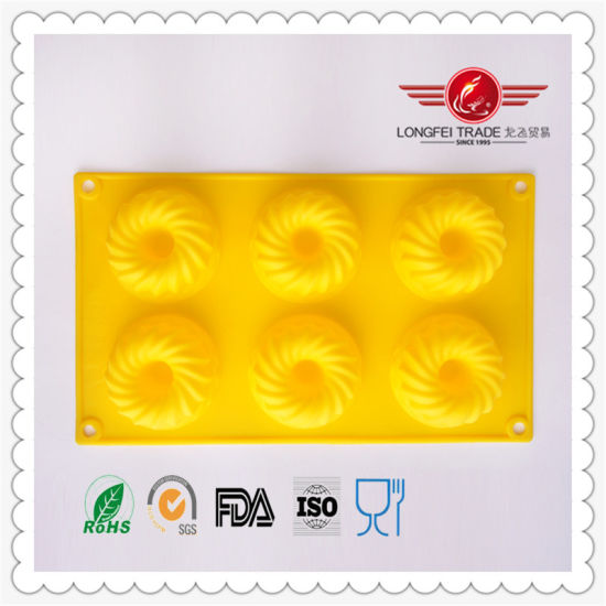 Yellow Color High Grade Flexible Silicone Rubber Bakeware Cake/Waffle Moulds
