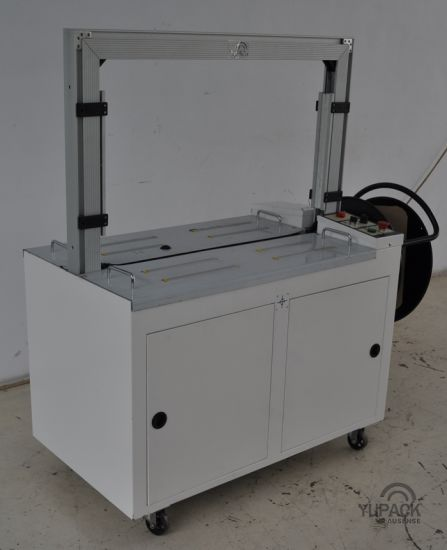 Aluminum Alloy Arch Automatic Plastic Polychem Strapping Machine with Foot Switch/Pedal pictures & photos
