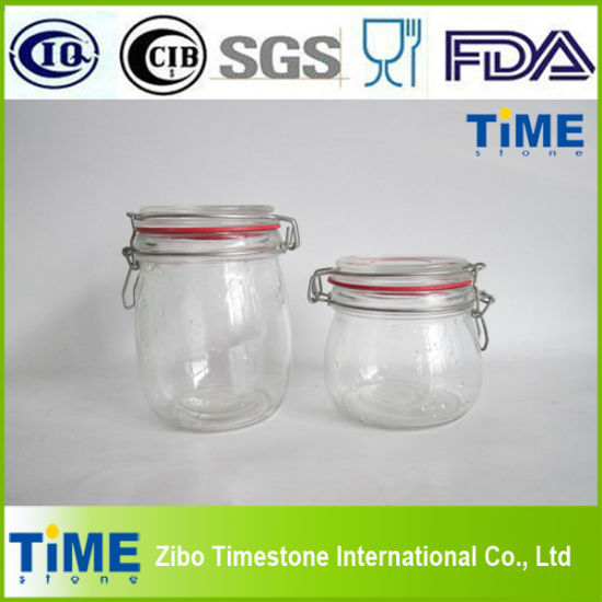 China Glass Airtight Jars With Glass Lid And Rubber Seal Tm007