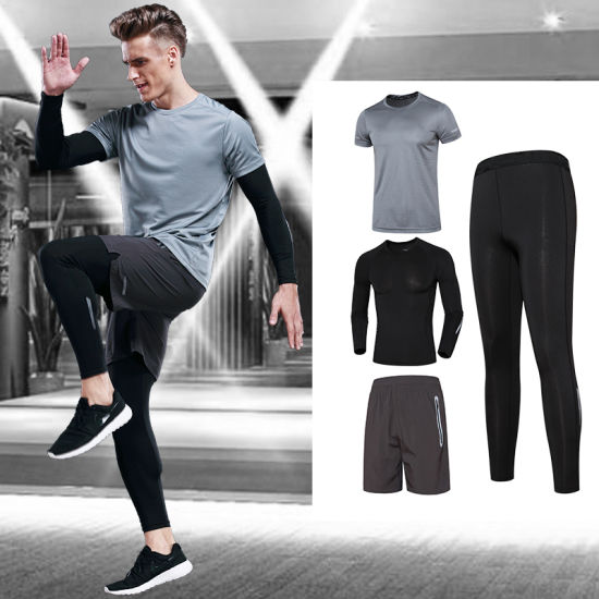 Custom Spandex Plain Men Dry Gym Sets Compressions Shirt Fitness Clothing for Men