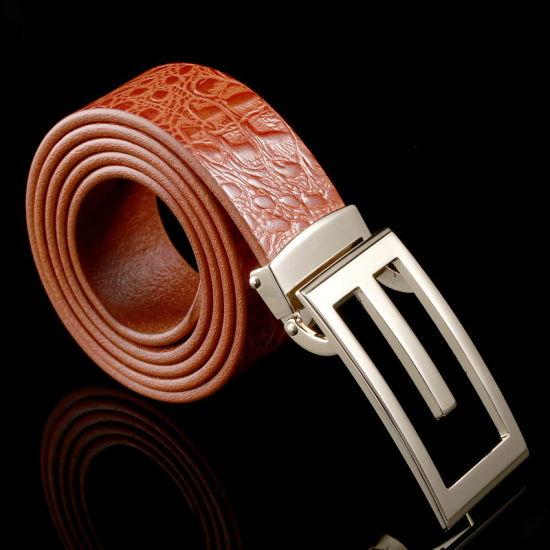 2020 New Design Fashion Crocodile Grain Top Grain Cowhide Genuine Leather Plate Buckle Men Belt