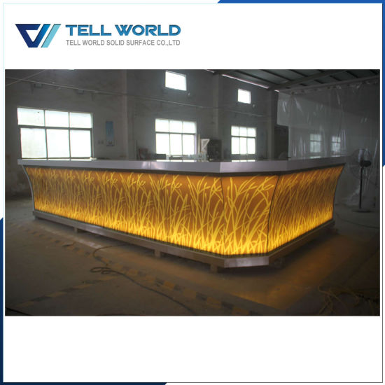 Translucent Panel With Led Lighting Commercial Bar Counter For