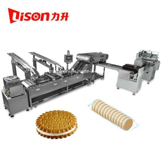 Automatic Biscuit Sandwiching Machine with on-Edge Packaging Machine