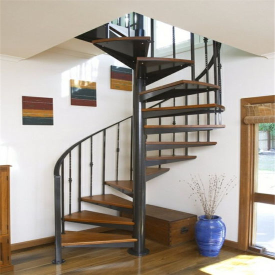 Prefabricated New Design Interior Stainless Steel Spiral Staircase /  Outdoor Metal Stairs