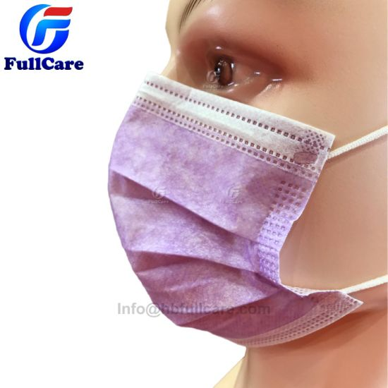 Surgical Face With Nonwoven Purple Mask Earloop 3ply Protective Surgeon Medical Disposable