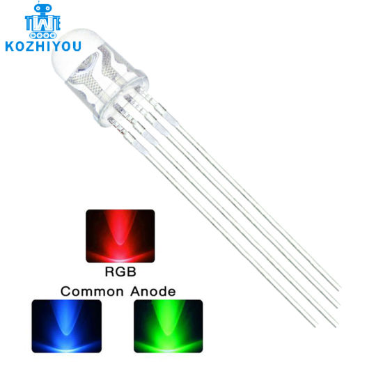 5mm RGB LED Common Cathode 4pin Red Green Blue LED Round Tricolor LED Light Emitting Diode Transparent Lamp