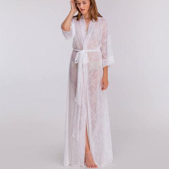 d1f34a2d22 White Loose Wrap See-Through Bridal Sexy Sheer Bathrobe Lace Lingerie  Kimono Robe