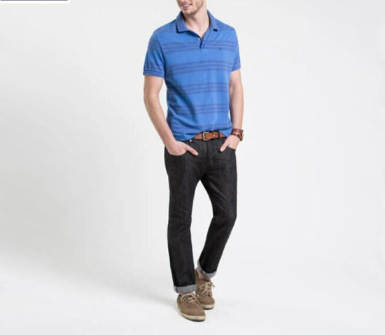 High Quality 220GSM Striped 100% Cotton Pique Polo T Shirts for Men pictures & photos