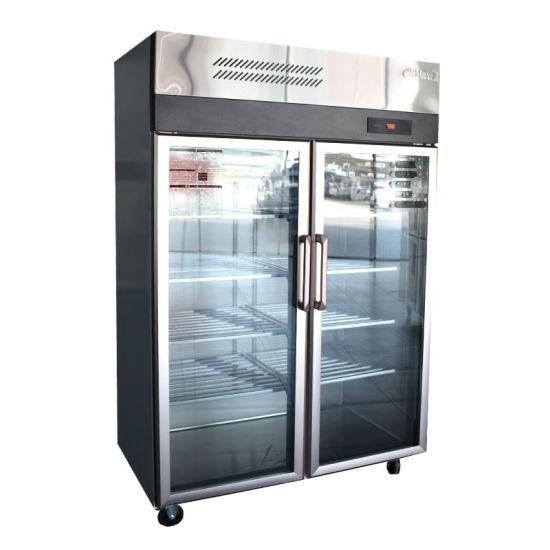 High Quality Double Glass Door Commercial Beverage Drink Cooler