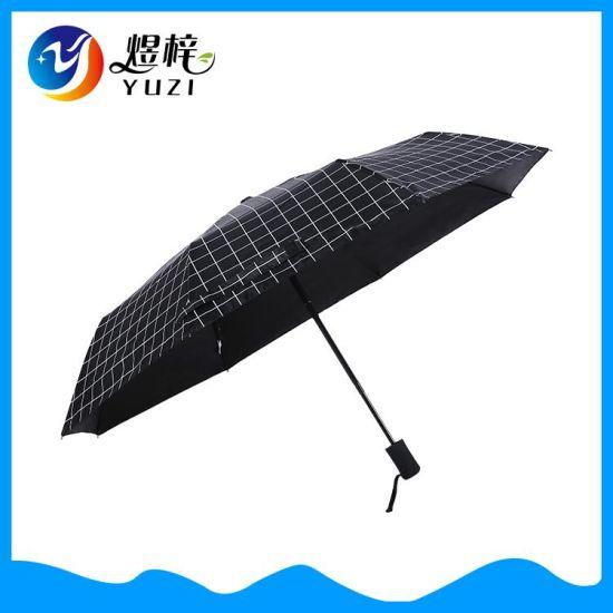 Check Pattern Anti UV Auto Open Close 3 Folding Sun Umbrella
