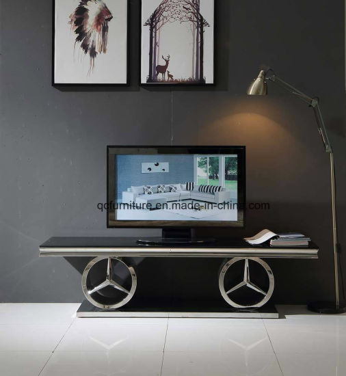 China Hot Design Mirror Silver Tv Stand With Black Glass Top China