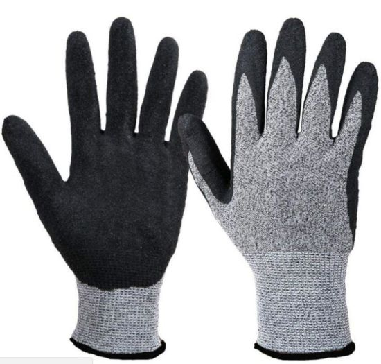 Level D Hppe Cut Resistant Anti-Cut Resistance PU Coated Safety Labor Protective Work Gloves with CE Certificate