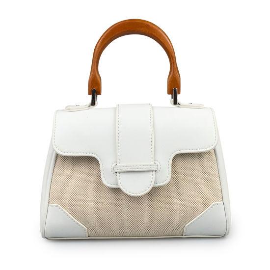 Lady Hand Bag Fashion Genuine Leather and Canvas Handbag