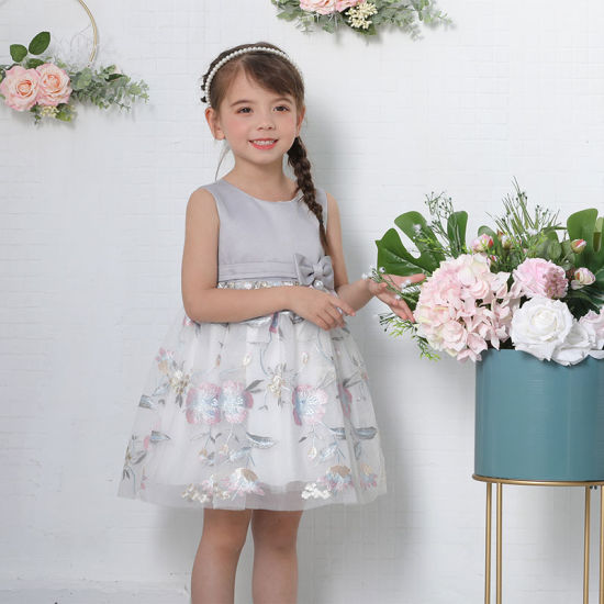 Girl Clothes Cheap Sleeveless Ruched Waistline Baby Girl Dresses for Formal Wear