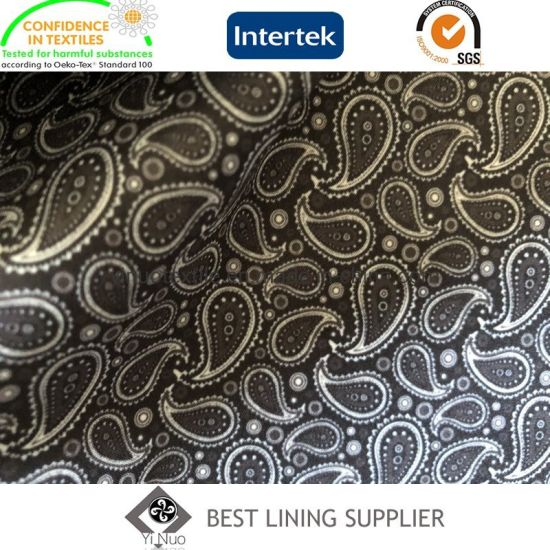 Polyester Elastic Paisley Print Lining Fabric