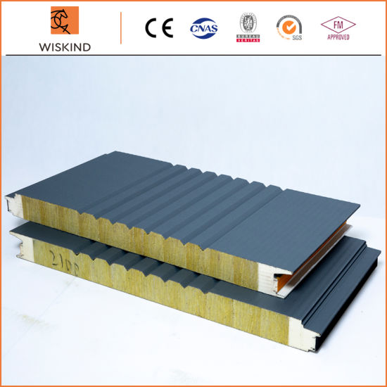 Economic Insulation PU Foam Edge Sealing Rock Wool Sandwich Panel Used on The Internal and External Wall and Roof