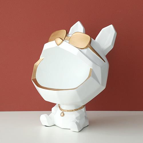Nordic Creative Geometric White Bulldog Home Storage Decoration Resin Animal Home Ornaments