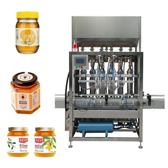 Full Automatic Tomato Paste Hot Sauce Honey Jar Ketchup Bottle Filling Capping Labeling Machine, Cream/Peanut Butter/Thick Oil/Viscous Liquid Bottling Machine