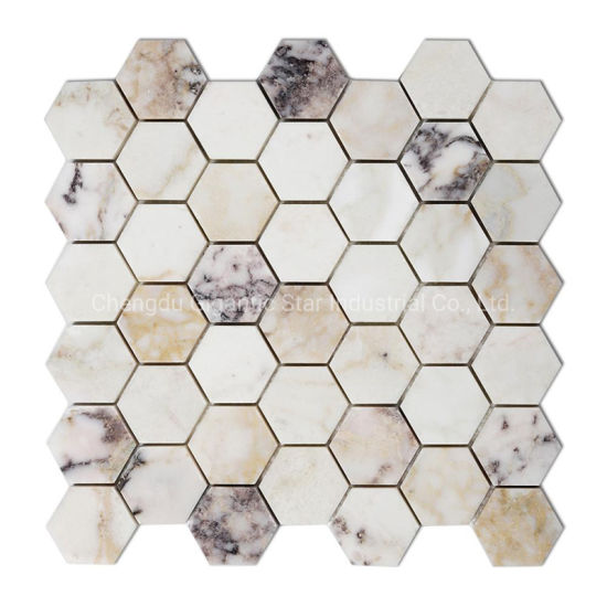 China Gigantic Star 2 Hexagon White Marble Mosaic Grigio Toscana 48mm Gray Marble Mosaic Tile China Marble Mosaic Stone Mosaic