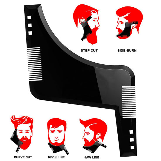 High Quality Beard Shaping Styling Template Plus Beard Comb All-in-One Tool ABS Comb for Hair Beard Trim Template pictures & photos