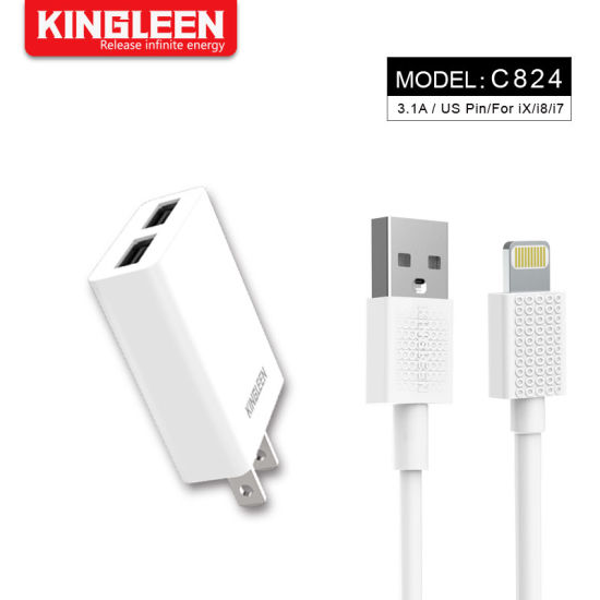 5V/3.1A Universal USB Wall Charger Set for iPhone 7 8 Plus X