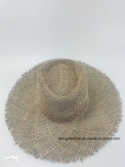 Natural Seagrass Straw Fringed Brim Occasion Beach Hat