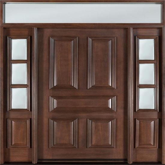 China Exterior Design Mahogany Solid Wood Main Double Entry Door For