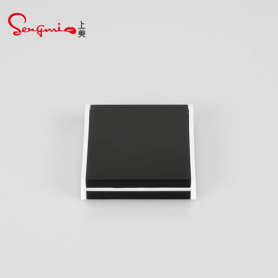 Manufacturer Cosmetic Empty Simple Square Black Blusher Press Powder Case Compact Case Packaging